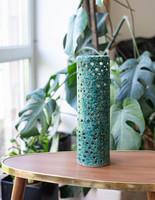 Rare retro ceramic mood lamp - openwork pattern tube lamp - green and yellow pond head? Ceramics