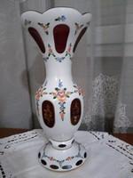 Lausitzer glass vörös kristály kézi festett váza 31 cm!