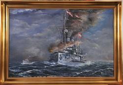 Ismeretlen művész, Csatahajó a tengeren