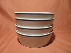 4 db Zsolnay kocsonyás tál, tányér kék csíkkal