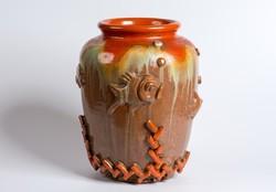 Komlós art deco kerámia váza plasztikus tengeri jelenettel díszítve  24 cm