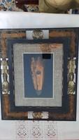 Afrikai maszk rézből üveg alatt kézi faragasu keretben