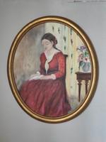 Női portré ovális keretben