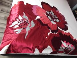 Hatalmas burgundivörös selyemvirágos ágynemű garnitúra 5 részes