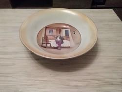 Antik Angol porcelán jelenetes tányér - tál.