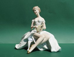 Rare large German wallendorf porcelain figurine with rococo baroque style lady fan