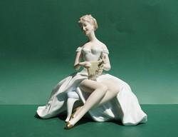 Ritka nagyméretű német Wallendorf porcelán figura rokokó barokk stílusú hölgy legyezővel