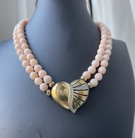 Action!!! Gold collier on a pink coral chain adorned with diamonds !!!