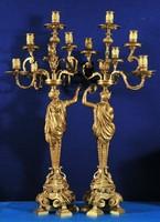 Antik, francia aranyozott bronz gyertyatartók, XIX