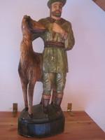 Hatalmas vadász jelenetes fa szobor !