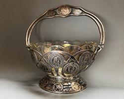 Rendkívüli, antik ezüst érmés kínáló kosár!