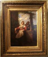Gerolamo Induno (1825-1890) Udvari jelenet, fiatal lány udvarlójával