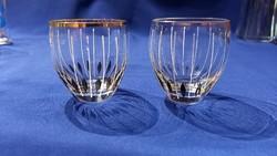 Kis poharak italos likőrös pálinkás retro üveg csíkos