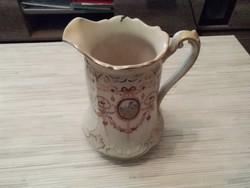 Antik Angol porcelán jelenetes kancsó, kiöntő.