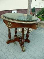 Csodaszép antik, díszes, márvány tetejű ovális Empire szalon asztal