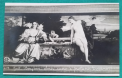 Régi fekete-fehér művészlap,használt képeslap