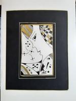 Eredeti Szász Endre absztrakt tusrajz grafika kartonon fekete fehér arany színes