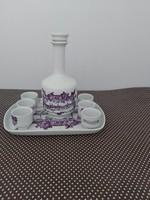 Alföldi pálinkás készlet, butella, butélia kupicával