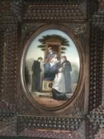 XVIII. sz.i. PORCELÁN KÉP A HÁTÉRBEN ITALYAI TÁJJAL!