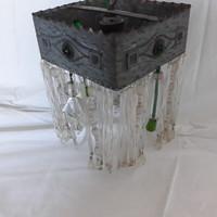 Antique art deco / Art Nouveau glass drop chandelier