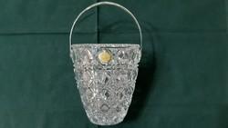 Ezüst fogantyús Ólomkristály jégkockatartó 1035 gramm ajándék ezüst csipesszel