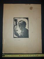 Szignós linóleummetszet, S.k. 1940 körül