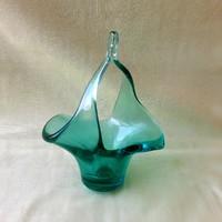 Muránói vagy cseh zöld, szakított üveg kínáló, kosár