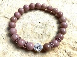 Rózsaszín rodkrozit női ásvány karkötő antik ezüst virág fém gyöngy dísszel