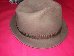 Antik nemez barna színű férfi kalap szürke kalapszalaggal képek szerint