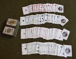 Francia kártya + kártyadoboz , két pakli + cserelap , négy JOKER , használt , römi , póker , magyar