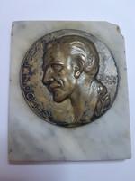 Jelzett Sződy Szilárd: Gárdonyi Géza bronz emlékplakett 1929 márvány lapon