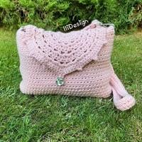 Rózsaszín mandalás horgolt táska egyedi kézimunka válltáska oldaltáska