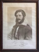 Kossuth portré,szignóval. 1841.,eredeti keretében.RITKA. 38x28 cm-es  kerettel együtt.