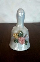 KERÁMIA, porcelán HARANG, csengettyű, lüszteres, gyöngyházfényű
