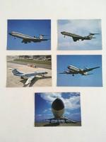 5db postatiszta Malév képeslap sorozat a '70-es - '80-as évekből (2db: TU-154, 2db: TU-134, IL-18)