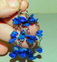 Lapis Lazuli köves Ásvány Tibeti Ezüst Fülbevaló 5 cm-es