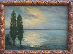 Ism. festő: Naplemente a Balatonon