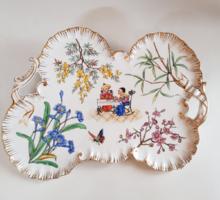 Antik keleti stílusú porcelán füles reggeliző tálca