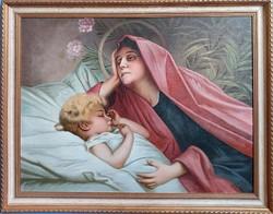 Zdeněk Máčel : Madonna gyermekével - eredeti olajfestmény