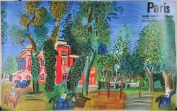 Raoul Dufy (1877-1953) Eredeti plakát, Le Paddock á Deauville, 1964