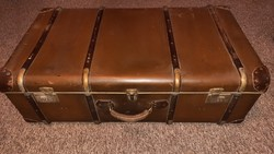 Old large travel suitcase with suitcase
