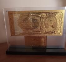 24 kt arany bankó talpas tartóban, certifikációval