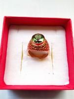 14 carat green stone gold ring
