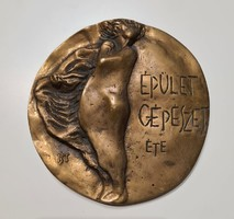 Épületgépészet bronz plakett 10 cm jelzett KT