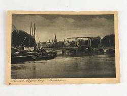 Antik, régi, postatiszta, holland képeslap - Amszterdam, Amstel Magere burg, '20-as / '30-as évek