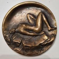 Bolba Henrik akt bronz plakett 9 cm