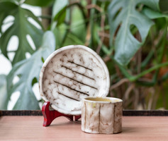Retro ceramic ashtray and cigarette vendor in Hódmezővásárhely - gray padded glaze set