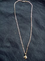 14Car, 44 cm long, 5.6 gram weight, figurine gold chain with horse head pendant for sale.