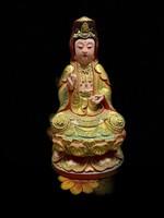 GUAN YIN, a méltányosság Istennője. Régi fa, festett kínai szobor. keleti, ázsiai, Buddhista