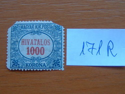 MAGYAR KIR. POSTA 1000 KORONA 1922 HIVATALOS 171R